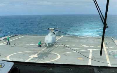 US Navy Helicopter Sea Combat Squadron HSC 22 receives first unmanned helicopter MQ-8C