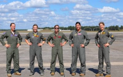 "Female fighter pilots test modified ATAGS ""G-suit"""